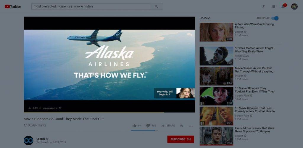 Banner advertising on YouTube image on video