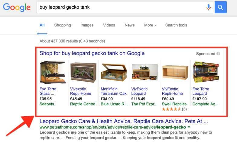 Google Shopping ads result